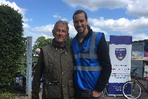 Steve Keyte pictured with Pompey's Christian Burgess.