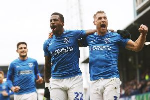 Omar Bogle and Lee Brown celebrate Pompey's opener in their 2-0 success over Scunthorpe. Picture: Joe Pepler/Digital South