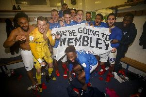Pompey celebrate after securing a Wembley date. Picture: Daniel Chesterton/phcimages.com/PinPep)