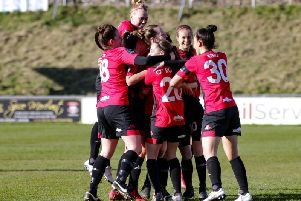 Lewes Women celebrate a goal against Millwall Lionesses. Picture by James Boyes
