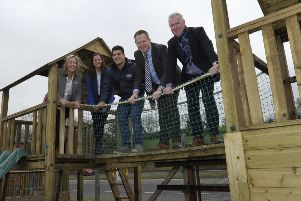 Cllr Paul Greenfield, Nicola Wilson, Head of Economic Development, Steven Fullerton, Invest NI, Rick Manso, NI Climbing Frames and Noelle Garvey, Business Engagement Programme Manager with some of the equipment at the Banbridge business.