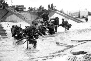 British troops landing during D-Day.