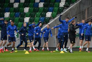 PACEMAKER BELFAST  20/03/2019'Northern Ireland during a open training session,   ahead of N Ireland's UEFA EURO 2020 qualifying matches against Estonia and Belarus at the National Football Stadium at Windsor Park.'Photo Colm Lenaghan/Pacemaker Press