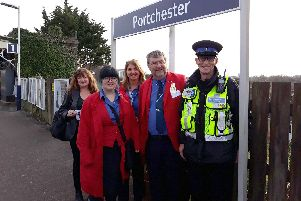 Try the Train community ambassadors, from left, Ann McDermott, Jessykar Donald, Tarnia, Ian Edwards and rail community officer, Chris Campbell