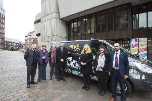Hive Portsmouth celebrates its first few months with launch of telecare and accessible van. Pictured: Cllr Steve Pitt, Cllr Lynne Stagg, Cllr Jeanette Smith, Cllr Dave Ashmore, Cllr Claire Udy, Cllr Jennie Brent and Cllr Yahiya Chowdhury