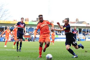 Matty Blair watches Kazenga LuaLua beat his man this afternoon