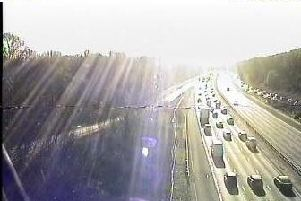 Traffic queuing on the M27 eastbound this morning. Picture: Highways England