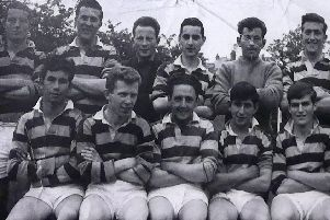 An early Dromore Amateurs side. Back row: A Brown, D Miskimmons, C Lindsay, D Nicoletti, R Lindsay, J Poots. Front row: J Delaney, M McCaughey, S Hamilton, N Nicoletti, R McDowell