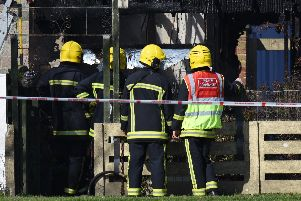 House fire at Nyria Way off Willis Road in Gosport. Picture: Daniel Harbut