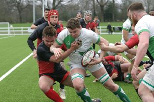 Jonny Goward on his way for a try to Horsham RUFC. Photo by Clive Turner
