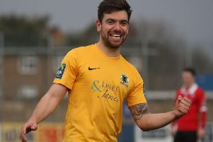 New Haywards Heath Town recruit George Landais celebrates for former club Horsham last season. Picture by John Lines.