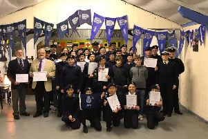 Littlehampton Sea Cadets with their 2018 Burgee and certificates, presented by Commander Trevor Price
