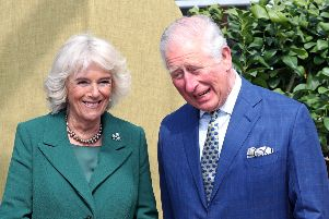 The Prince of Wales and the Duchess of Cornwall during a tour of the Visitor Centre and the Walled Garden at the reopening of Hillsborough Castle and gardens in Northern Ireland.