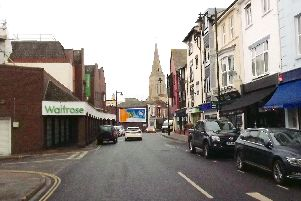 A modern view along Marmion Road. Friary Close, formerly Lennox Road North to the left now leads to a car park.