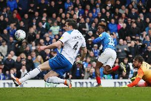 Jamal Lowe adds a fourth for Pompey against Rochdale. Picture by Joe Pepler/Digital South.