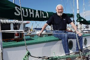 Sir Robin Knox-Johnston aboard Suhaili at Gosport Marina. Commemorative events will take place in Falmouth, Cornawall, on April 22nd, marking fifty years since his solo, non-stop, circumnavigation of the globe.            Picture: Chris Moorhouse              (110419-7)