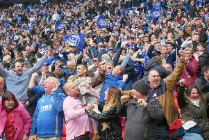 Pompey fans celebrate victory at Wembley - one of six-consecutive wins at present. Picture: Habibur Rahman