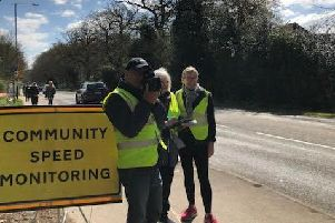 Residents taking part in the Community Speed Monitoring scheme on Banbury Road. Photo submitted.