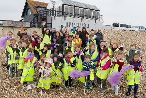 World Water Day event - Local school kids have been collecting plastic and created sculptures,  on display in the pub. There was also a beach clean litter pick, face painting and an indoor rowing machine competition. Picture: Duncan Shepherd