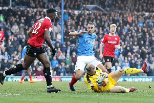 Pompey's James Vaughan, seen here against Barnsley, is current training with parent club Wigan. Picture: Sean Ryan/Pinpep