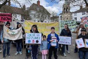 Some of the protestors who met in Horncastle on Friday including Holly Pavey (right). EMN-190415-100824001