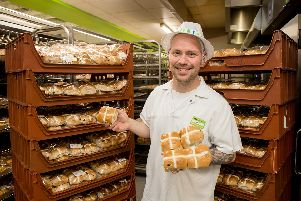 Carl Bartlett, is the man who puts the crosses on all the hot cross buns at the Asda in Gosport. Picture: Robin Jones