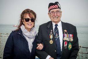 Lorraine Beynon with her father,  Leonard Williams, 93, who was shot three times by the Nazis while fighting in Germany during the Second World War.'Picture: Habibur Rahman