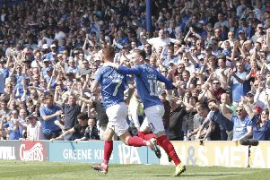 The Fratton faithful celebrate Tom Naylor's goal against Coventry - now victory at Sunderland is essential. Picture: Barry Zee