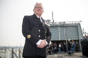 Warrant Officer, Mick Gentry who will be giving a salute from deck of HMS St Albans to 300 D-Day veterans in the Solent. Mick's late dad was one of those to storm the beach of Normandy during the June 6 invasion. Picture: Habibur Rahman