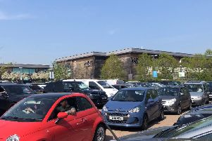 Shoppers were left waiting for more than an hour to leave the centre's south car park.