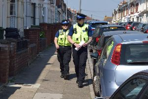 PCSOs from Hampshire Police patrolling Lynton Grove where the stabbing took place last night. Photo: Tom Cotterill