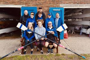 Isobel Hussey, cox, with the crew of eight, Will Marks, Will Mcgrath, Toby Strevens, Charlotte Rolfe-Pigg, Sally Hills, Anna Hollingdale, Garry Saunders and Simon Humberstone