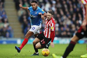Nathan Thompson battles Aiden McGeady for the ball during Pompey's victory over Sunderland at Fratton Park. Picture: Joe Pepler