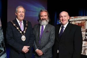 Pictured at the 'Sharing Experience, Shaping the Future' Regeneration Conference in Lisburn is the Mayor of Lisburn & Castlereagh City Council, Councillor Uel Mackin; Retail Futurist and keynote speaker Howard Saunders and Chairman of the Development Committee, Alderman William Leathem.