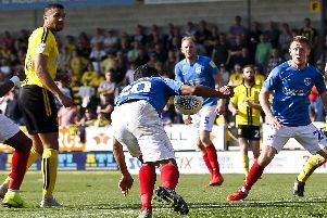 Nathan Thompson appeared to handle the ball in the build up to Matt Clarke's late winner against Burton. Picture: Daniel Chesterton/phcimages.com