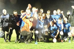 Sedlescombe Rangers celebrate after winning the Hastings & District FA Intermediate Cup