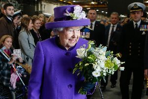 Queen Elizabeth departs from HMS Queen Elizabeth after the commissioning ceremony in 2017. Picture: Habibur Rahman