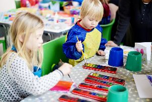 Youngsters get creative at one of the Family Saturdays workshops at the Aspex Gallery. Picture: Daniel Boss