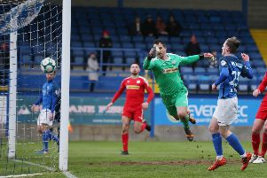 Ross Hunter finds the net for Glenavon against Cliftonville. Pic by INPHO.