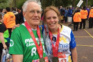 Lisa Whelan and Trevor Hardwell pictured after crossing the finish line on Sunday.