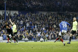 Viv Solomon-Otabor's 73rd minute goal was ruled out for offside in a crucial moment during Pompey's 3-2 defeat to Peterborough. Picture: Robin Jones.