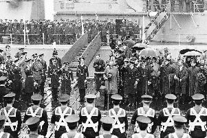 Edward, Prince of Wales and the future King Edward VIII arriving in Portsmouth. Can anyone tell me about the sailors' webbing? Picture: Michael Harris Collection.