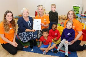 St Jude's Church Nursery in Silver Street, Southsea, is the first nursery in Portsmouth to been recognised by Portage in Portsmouth.''Pictured is: (back l-r) Natasha Wells, room leader, Sharon Ensor, team leader for Portsmouth Portage, Lucy Wren, nursery practitioner, Daniel Doraji (4) and Helen Marshall, deputy manager with (front l-r) Jacob James-Rhule (4), Yaseen Khamis (4) and Sky Chainey (4).''Picture: Sarah Standing (290419-7262)