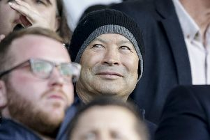 England Rugby Head Coach Eddie Jones during the Sky Bet League 1 match between Portsmouth and Peterborough United at Fratton Park, Portsmouth, England on 30 April 2019. Photo by Robin Jones.