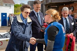 HRH The Princess Royal pictured with British Olympic sailing hopeful Jess Lavery (right) during her visit to Emsworth Sailing Club today.'Photograph by Christopher Ison '07544044177'chris@christopherison.com'www.christopherison.com