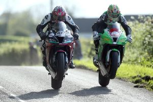 Adam McLean (McAdoo Racing Kawasaki) and Derek McGee (NJ Doyne Kawasaki) in close proximity over the jumps in practice at the Tandragee 100 on Friday. Picture: Stephen Davison/Pacemaker Press.