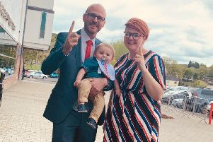 Darryn Causby with his wife Sarah and son Harry