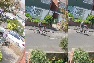 A neighbour captured the moment thieves stole the bikes from Mr Vaughan's driveway.