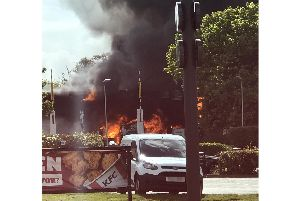 A camper van caught fire at a petrol station in Fontwell Picture: Stephen Rosan