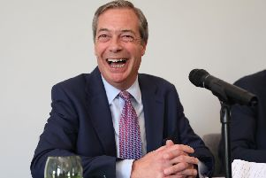 Nigel Farage during his Brexit Party's first press conference of the European Election campaign in central London. Picture: Isabel Infantes/PA Wire